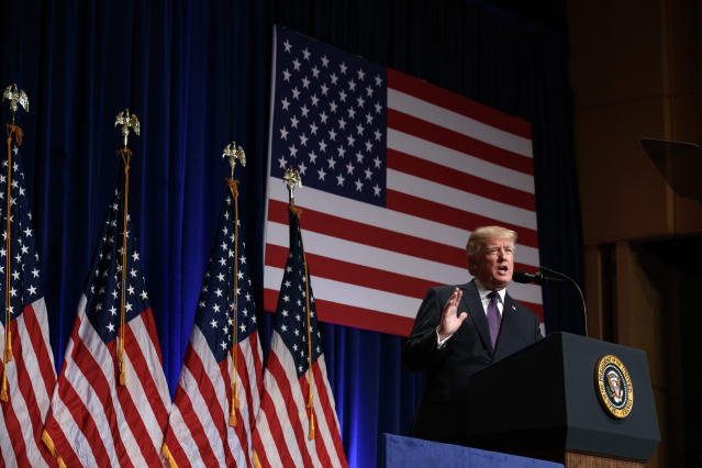 <p>President Donald Trump speaks on national security, Monday, Dec. 18, 2017, in Washington. (AP Photo/Evan Vucci) </p>