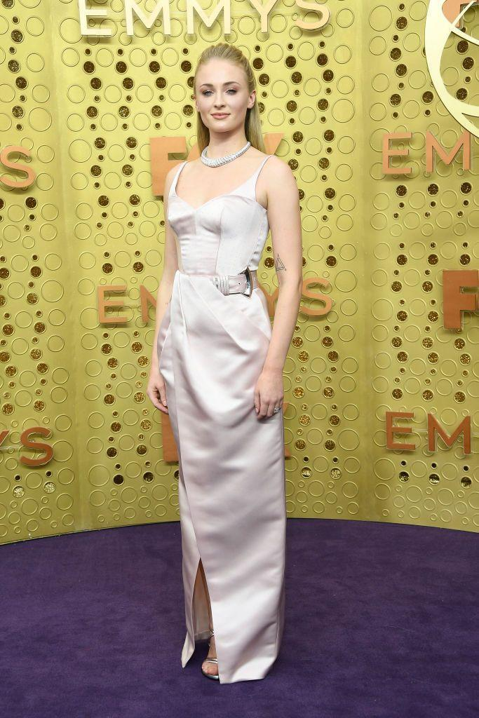 <p>Attending the Emmys, where she was nominated for her role as Sansa Stark in GOT, Turner wore a pale pink dress by Louis Vuitton.</p>