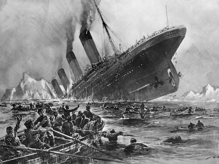"""A sketch, made by marine artist Willy Stoewer, depicts the Titanic disaster. <p class=""""copyright""""><a href=""""https://www.gettyimages.com/detail/news-photo/during-the-night-of-april-14th-the-english-s-s-titanic-news-photo/517359150"""" rel=""""nofollow noopener"""" target=""""_blank"""" data-ylk=""""slk:Bettmann/Getty Images"""" class=""""link rapid-noclick-resp"""">Bettmann/Getty Images</a></p>"""