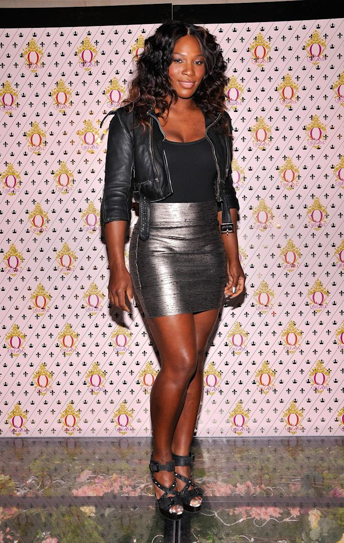HOLLYWOOD, CA - JULY 14: Tennis player Serena Williams arrives at the launch party for Pharrell Williams' new vodka-based liqueur 'Qream' on July 14, 2011 in Hollywood, California. (Photo by Michael Tullberg/Getty Images)