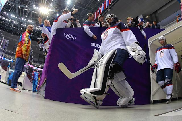 SOCHI, RUSSIA - FEBRUARY 21: Jonathan Quick #32 of the United States walks to the ice before the Men's Ice Hockey Semifinal Playoff against Canada on Day 14 of the 2014 Sochi Winter Olympics at Bolshoy Ice Dome on February 21, 2014 in Sochi, Russia. (Photo by Martin Rose/Getty Images)