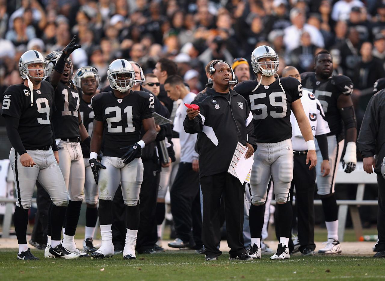 OAKLAND, CA - JANUARY 01:  Head coach Hue Jackson of the Oakland Raiders walks a replay and decides not to challenge a play when the San Diego Chargers appeared to fumble the ball on a kick off in the fourth quarter at O.co Coliseum on January 1, 2012 in Oakland, California.  (Photo by Ezra Shaw/Getty Images)