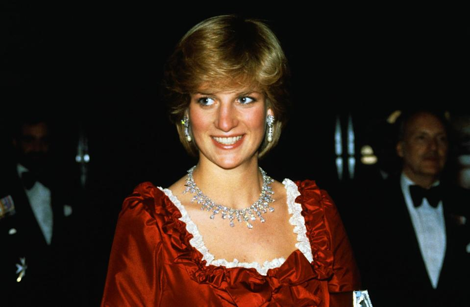 <p>Given to the Queen as a gift from a Saudi King in 1979 and designed by Harry Winston, Princess Diana wore the necklace on several occasions throughout the 1980s, including while she was pregnant with Prince William.</p>