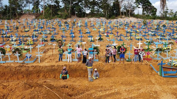 Aerial picture showing a burial taking place in the Amazon in Brazil