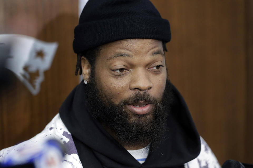 Michael Bennett spoke to his teammates in the locker room after the Cowboys' Thanksgiving loss. (AP Photo/Steven Senne)