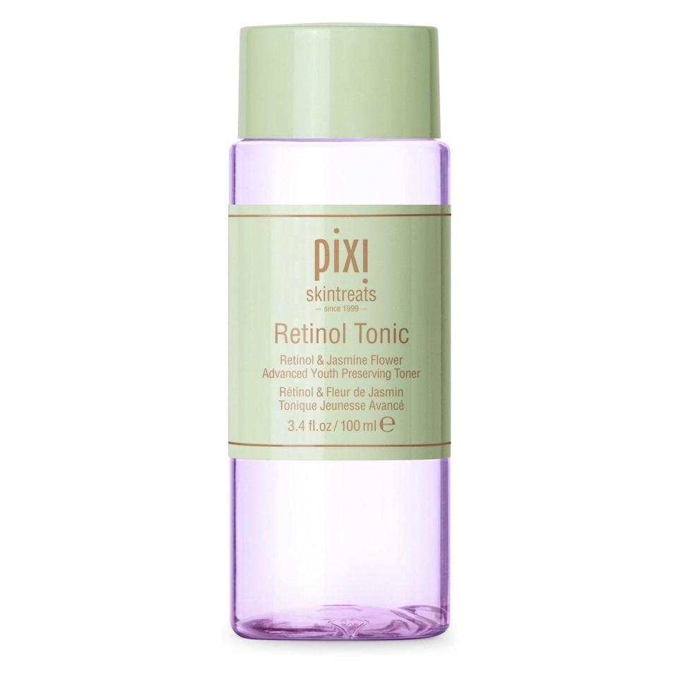 """<p>Pixi's cult-favorite <a href=""""https://www.refinery29.com/2014/01/60906/pixi-glow-tonic-toner"""" rel=""""nofollow noopener"""" target=""""_blank"""" data-ylk=""""slk:Glow Tonic"""" class=""""link rapid-noclick-resp"""">Glow Tonic</a> has a sister — and she's packed with retinol. Just be sure not to skimp on the SPF while using this one; the retinol can make skin extra sensitive.</p><br><br><strong>Pixi</strong> Retinol Tonic, $15, available at <a href=""""https://www.target.com/p/pixi-by-petra-retinol-tonic-3-4-fl-oz/-/A-52616048"""" rel=""""nofollow noopener"""" target=""""_blank"""" data-ylk=""""slk:Target"""" class=""""link rapid-noclick-resp"""">Target</a>"""
