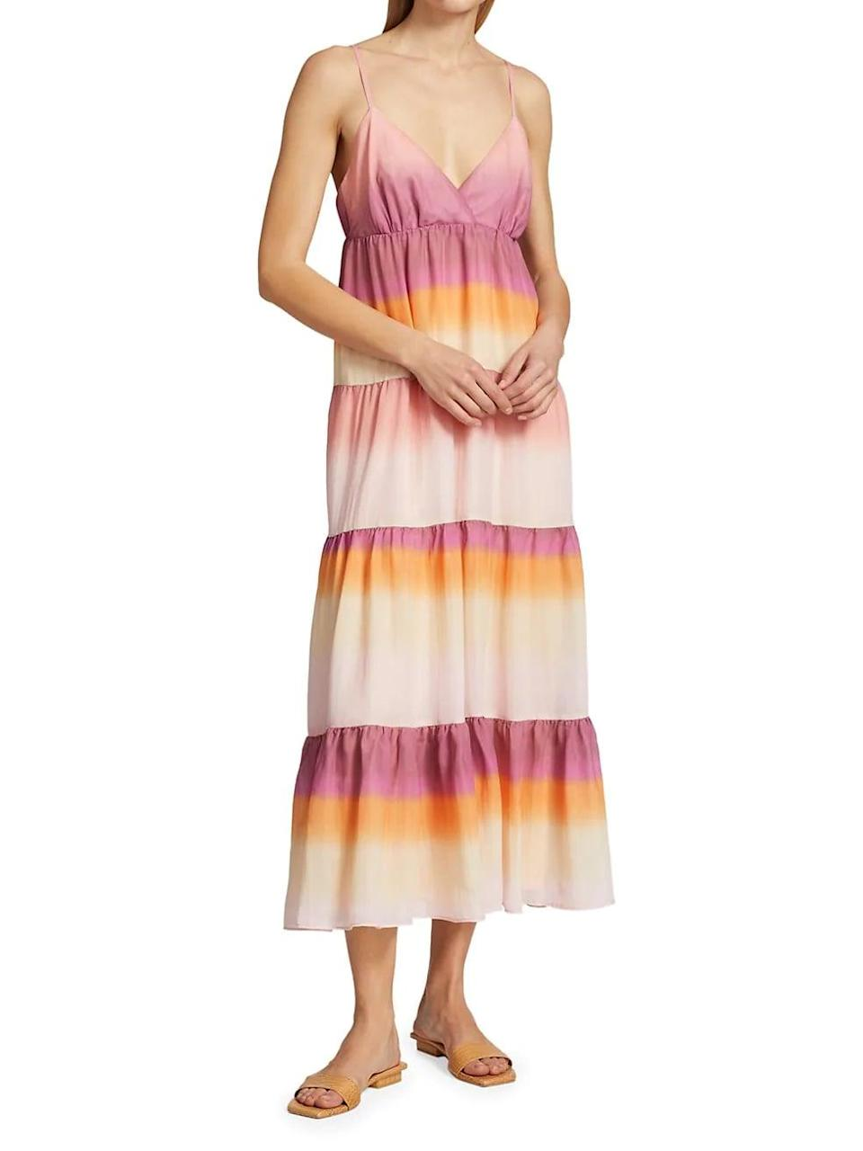 <p>This <span>Wayf Delma Tiered Slip Dress</span> ($178) is a colorful and summery pick for warm-weather occasions.</p>