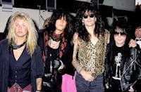 """<p>Mötley Crüe attending the 1989 MTV Video Music Awards in Los Angeles. They were nominated for Best Heavy Metal Video the following year for """"Kickstart My Heart.""""</p>"""