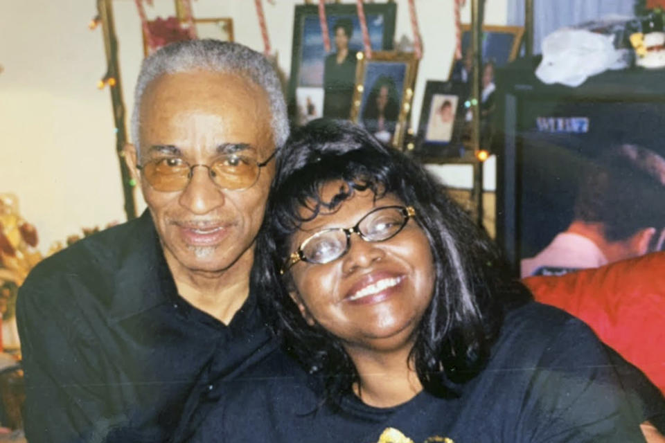 This photo provided by Tamika Dalton in September 2021 shows her mother, Theresa Dalton, and her late father, Sam Rubin Dalton in Eden, N.C. As Theresa's conditions continued to worsen in the Blumenthal Nursing and Rehabilitation Center in Greensboro, N.C., the retired minister contracted COVID-19 and died Feb. 12, 2021. (Courtesy Tamika Dalton via AP)