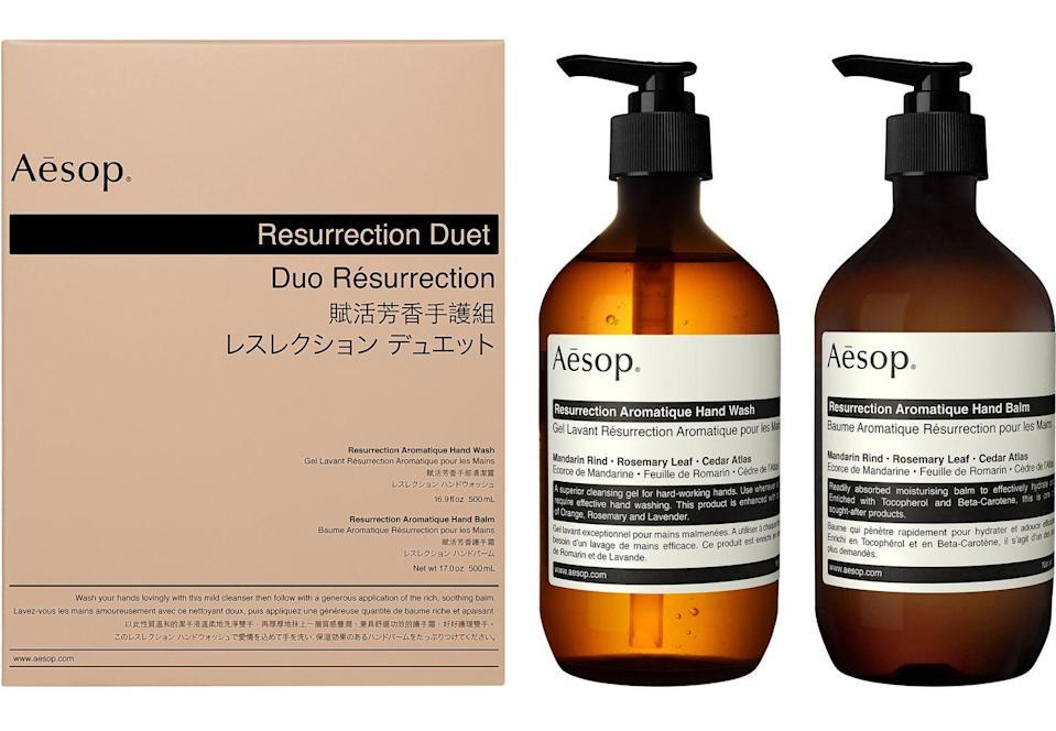 """<p>Like face masks and hand sanitiser, hand wash has never been so in fashion. Make those 20 seconds of scrubbing a tad more enjoyable with Aesop's aromatic Resurrection Duet. Inside the box there's two exceptional formulations loaded with citrus, woody and herbaceous aromatics; think mandarin rind, rosemary leaf and cedar atlas. </p><p>£87, <a href=""""https://www.aesop.com/uk/p/body-hand/hand-and-body-gifts/resurrection-duet/"""" rel=""""nofollow noopener"""" target=""""_blank"""" data-ylk=""""slk:Aesop"""" class=""""link rapid-noclick-resp"""">Aesop</a>.</p>"""