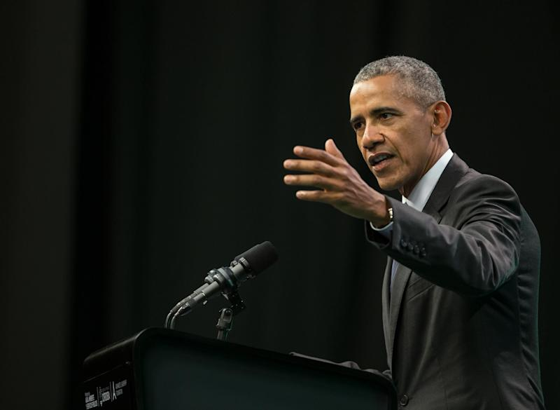 Former United States' President Barack Obama delivers a speech during the Green Economy Summit 2017: PABLO GASPARINI/AFP/Getty Images