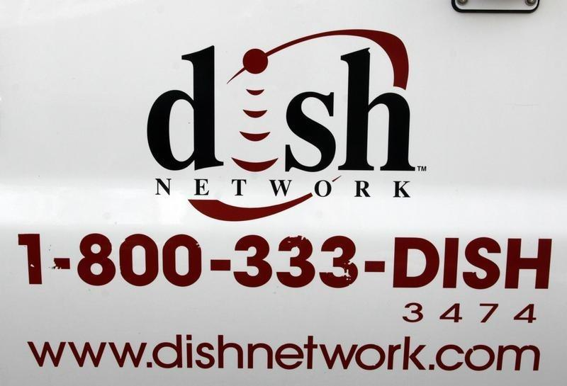 The Dish Network logo on the side of installers truck is seen in Denver