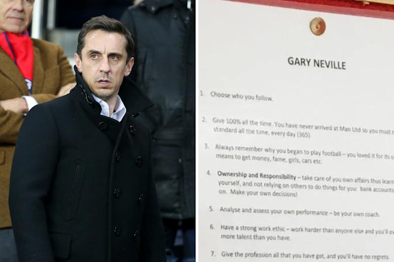 af9db14cadc The pieces of advice from Gary Neville pinned up at United