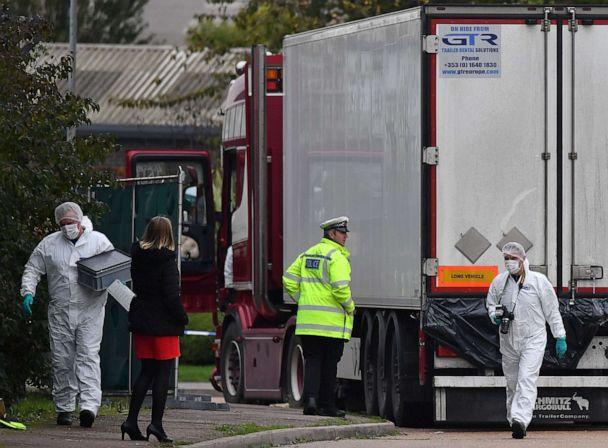 PHOTO: British Police forensics officers work on lorry, found to be containing 39 dead bodies, at Waterglade Industrial Park in London, Oct. 23, 2019. (Ben Stansall/AFP/Getty Images, FILE)