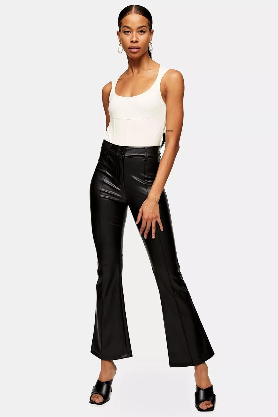 <p>You could wear these elevated <span>Black PU Flare Pants</span> ($68) every day.</p>