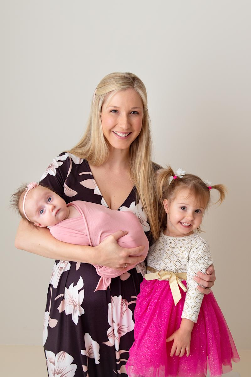 Heidi and her two girls, four-month-old Sophia and Arabella, 2. Photo: Jennifer Horner Photography.