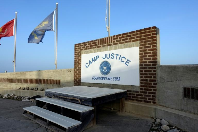This photo screened by US Military officials on September 7, 2021 shows a sign for Camp Justice in Guantanamo Bay Naval Base, Cuba, the site of the trial of Khalid Sheikh Mohammed and four others charged in the September 11, 2001 attacks. (AFP/Paul HANDLEY)