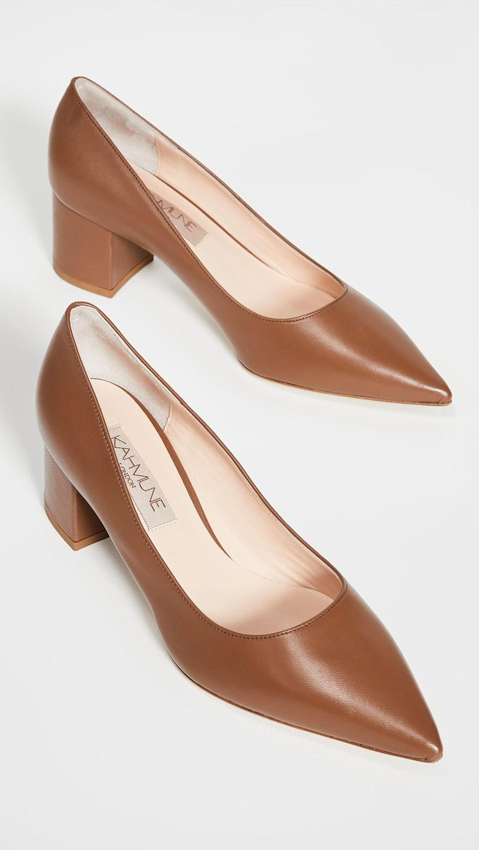 <p>These <span>Kahmune Becky Pump Block Heels</span> ($315) are the perfect heel that will never age.</p>