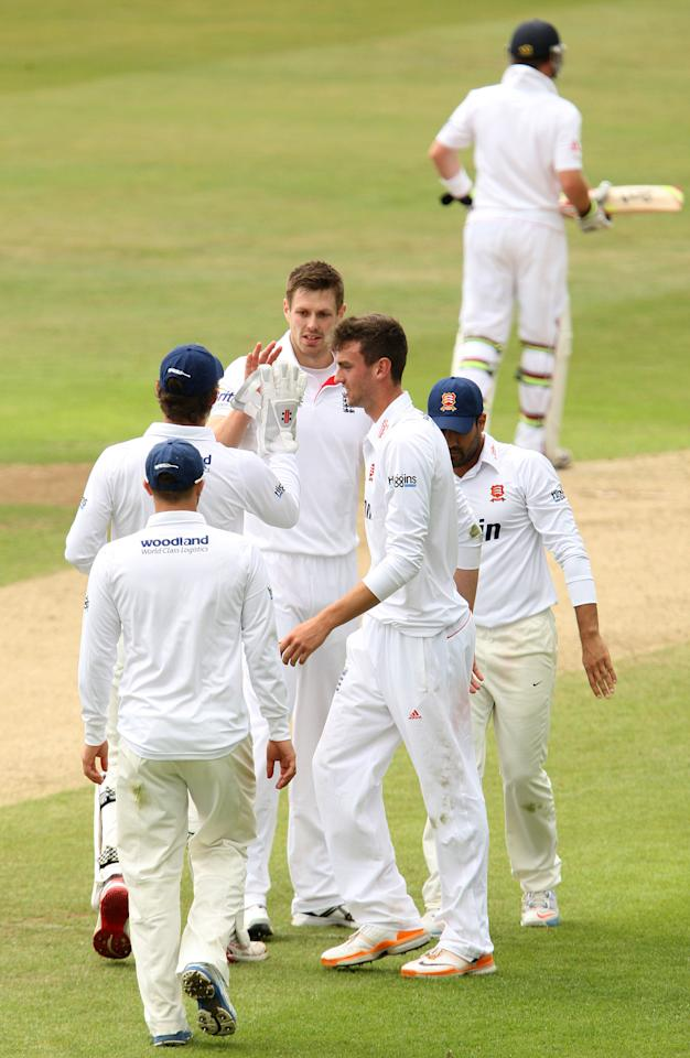 England's Boyd Rankin celebrates the dismissal of team mate Jonny Bairstow (out of picture) as he bowls for Essex during day four of the International Tour match at The County Ground, Chelmsford.