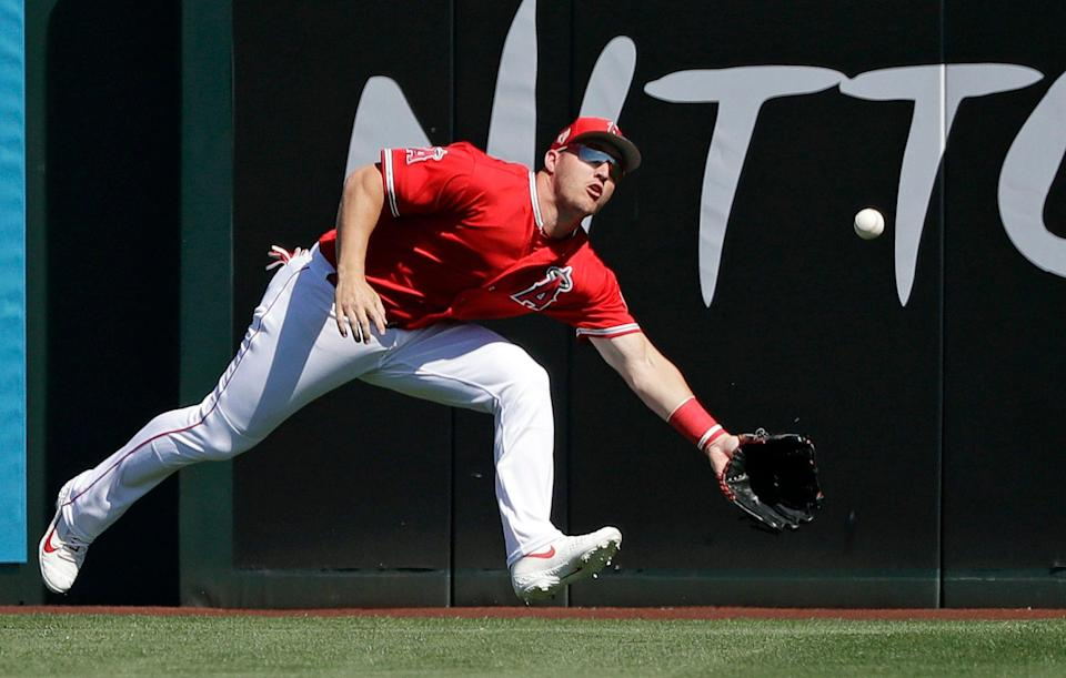 Mike Trout can do everything on a baseball field. (AP Photo/Elaine Thompson)