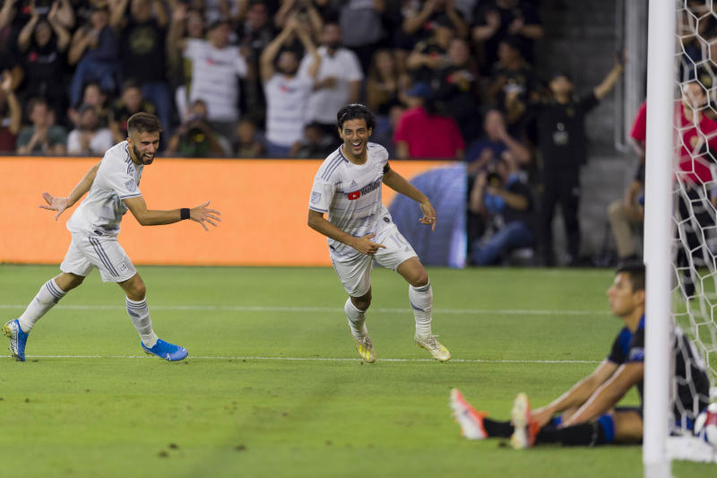 Aug 21, 2019; Los Angeles, CA, USA; Los Angeles FC forward Carlos Vela (10) celebrates after his goal during the first half against the San Jose Earthquakes at Banc of California Stadium. Mandatory Credit: Kelvin Kuo-USA TODAY Sports