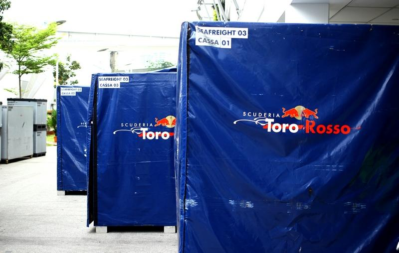 """It takes 2.5 days and about 12 people to complete the logistics of setting up the garage. (Courtesy of Scuderia Toro Rosso)<span style=""""font-size:12.0pt;""""></span>"""