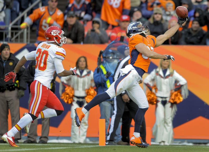 Denver Broncos wide receiver Eric Decker (87) makes a one-handed catch for a touchdown in front of Kansas City Chiefs defensive back Jalil Brown (30) in the second quarter of an NFL football game, Sunday, Dec. 30, 2012, in Denver. (AP Photo/Jack Dempsey)