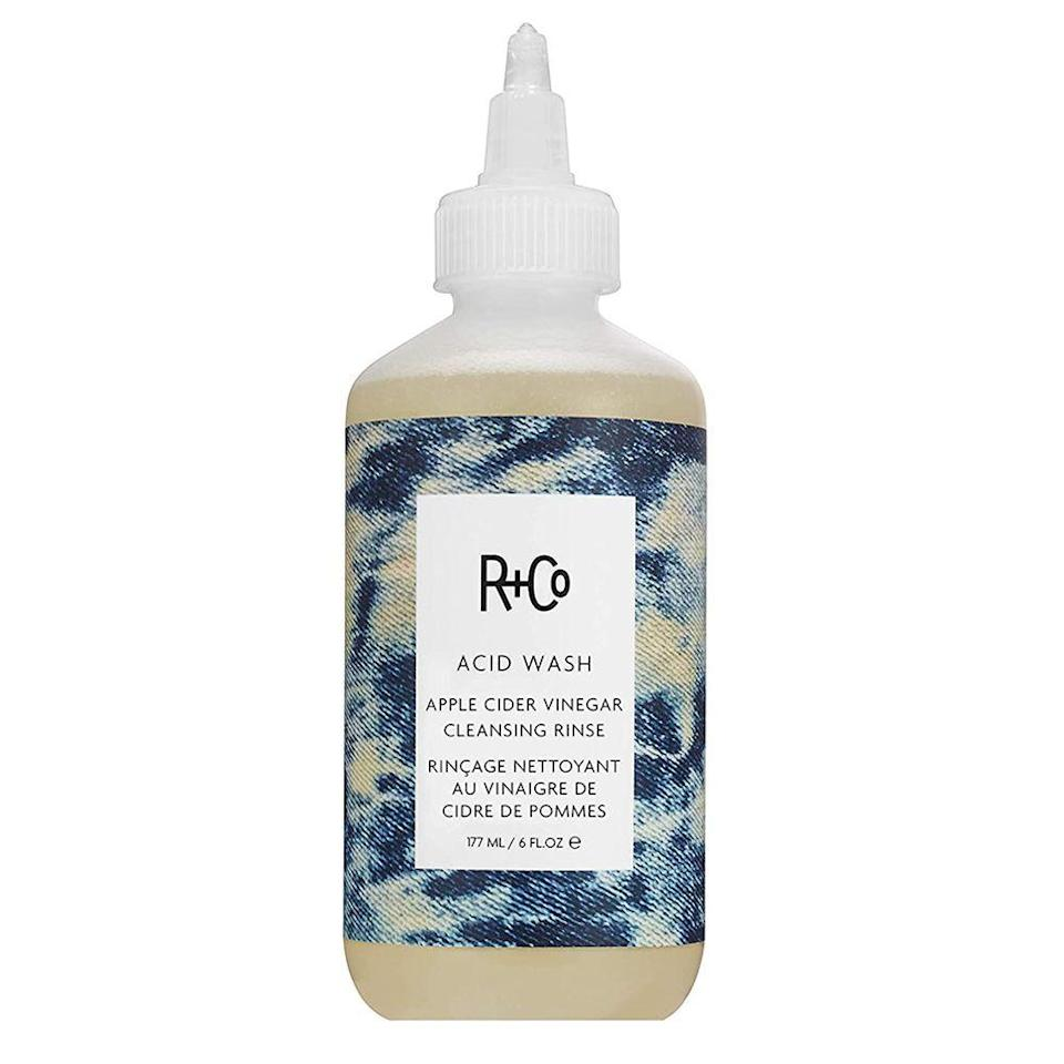 """<p><strong>R+Co</strong></p><p>amazon.com</p><p><strong>$30.00</strong></p><p><a href=""""https://www.amazon.com/dp/B078HCYSFK?tag=syn-yahoo-20&ascsubtag=%5Bartid%7C2089.g.36410459%5Bsrc%7Cyahoo-us"""" rel=""""nofollow noopener"""" target=""""_blank"""" data-ylk=""""slk:Shop Now"""" class=""""link rapid-noclick-resp"""">Shop Now</a></p><p>When it comes to ACV rinses, this one from R+Co can't be beaten. On top of using apple cider vinegar's <a href=""""https://www.byrdie.com/apple-cider-vinegar-hair-rinse-3517795"""" rel=""""nofollow noopener"""" target=""""_blank"""" data-ylk=""""slk:hair-clarifying properties"""" class=""""link rapid-noclick-resp"""">hair-clarifying properties</a>, this rinse also contains aloe vera leaf juice for strengthening your strands and boosting shine as well as tamanu seed oil for a soothed, happier scalp.</p>"""