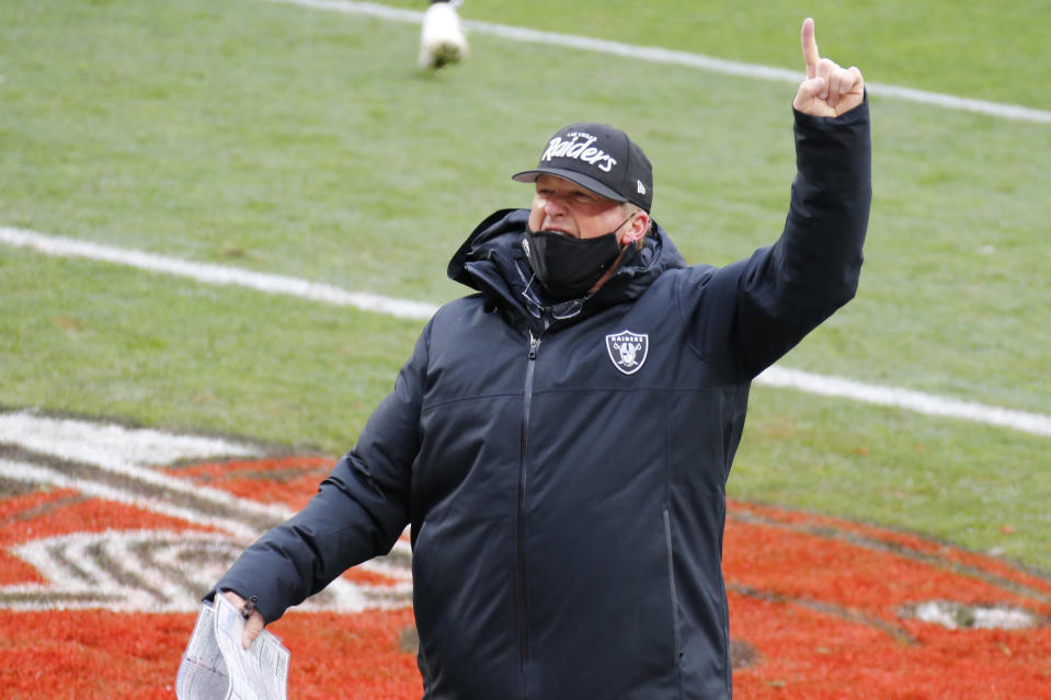 Las Vegas Raiders head coach Jon Gruden celebrates after the Raiders defeated the Cleveland Browns 16-6 in an NFL football game, Sunday, Nov. 1, 2020, in Cleveland. (AP Photo/Ron Schwane)