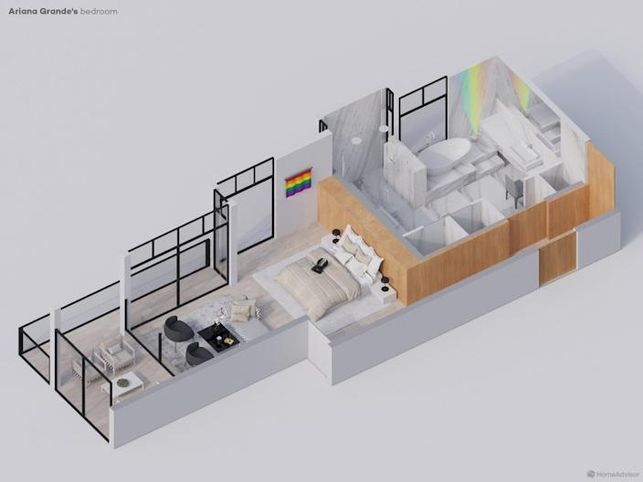 Layout for Ariana Grande's Master Bedroom