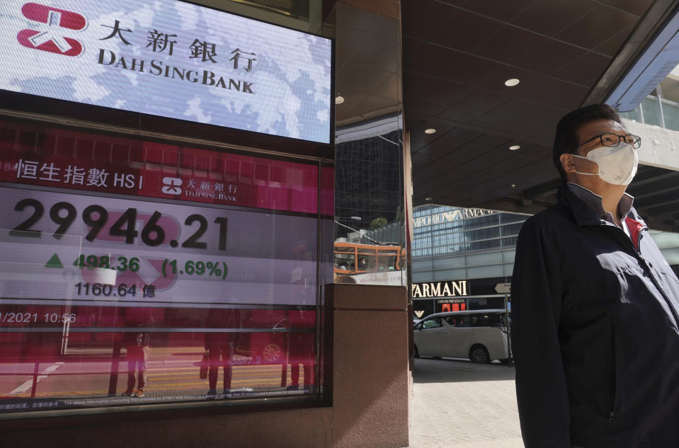 A man walks past a bank's electronic board showing the Hong Kong share index at Hong Kong Stock Exchange in Hong Kong Monday, Jan. 25, 2021. Asian shares rose Monday amid some hope for recovering economies slammed by the pandemic, as market attention turned to upcoming company earnings. (AP Photo/Vincent Yu)