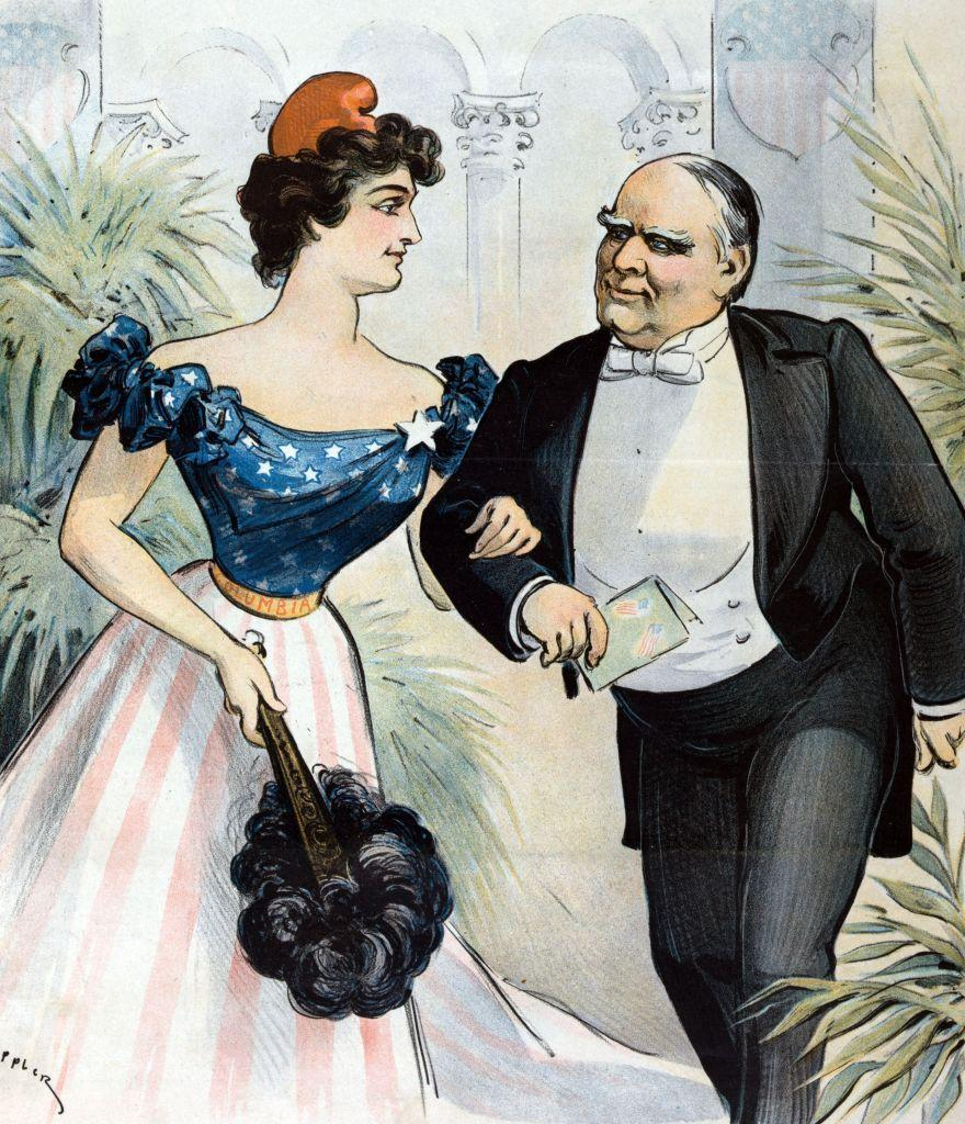 <p>For William McKinley's second inauguration, an artist illustrates him arriving at his inaugural ball, which was held on the evening of March 4, 1901. </p>