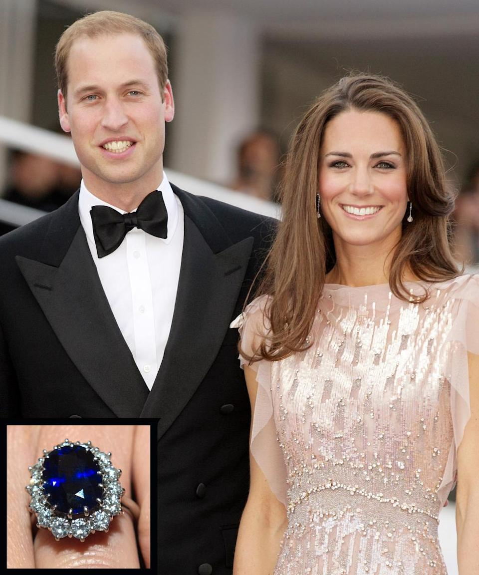 <p>Prince William proposed to his longtime girlfriend Kate Middleton in 2010 with the same 18-carat sapphire and diamond ring that his father, Prince Charles, gave to his mother, Princess Diana. The couple married in 2011.</p>