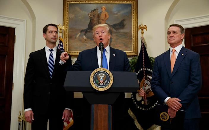 Tom Cotton, to the left of Donald Trump, last night gave evidence to the Defence Select Committee - Evan Vucci/AP