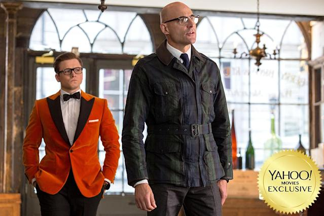 """<p>Eggsy (<a href=""""https://www.yahoo.com/movies/tagged/taron-egerton"""" data-ylk=""""slk:Taron Egerton"""" class=""""link rapid-noclick-resp"""">Taron Egerton</a>) travels to America to team up with the booze-slinging Statesmen (<a href=""""https://www.yahoo.com/movies/tagged/jeff-bridges"""" data-ylk=""""slk:Jeff Bridges"""" class=""""link rapid-noclick-resp"""">Jeff Bridges</a>, <a href=""""https://www.yahoo.com/movies/tagged/halle-berry"""" data-ylk=""""slk:Halle Berry"""" class=""""link rapid-noclick-resp"""">Halle Berry</a>, <a href=""""https://www.yahoo.com/movies/tagged/channing-tatum"""" data-ylk=""""slk:Channing Tatum"""" class=""""link rapid-noclick-resp"""">Channing Tatum</a>) to thwart the villainous Golden Circle (led by <a href=""""https://www.yahoo.com/movies/tagged/julianne-moore"""" data-ylk=""""slk:Julianne Moore"""" class=""""link rapid-noclick-resp"""">Julianne Moore</a>). Crazy action ensues. 