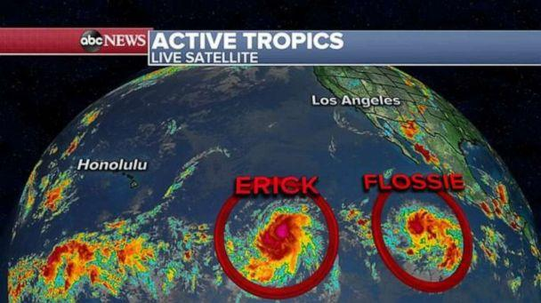 PHOTO: Satellites are tracking Erick and Flossie in the Pacific. (ABC News)