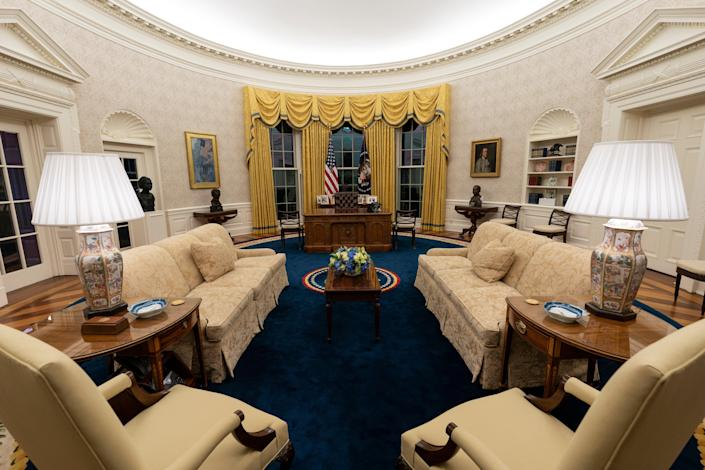 <p>The Oval Office of the White House is newly redecorated for the first day of President Joe Biden's administration, Wednesday, Jan. 20, 2021, in Washington.</p> ((AP Photo/Alex Brandon))