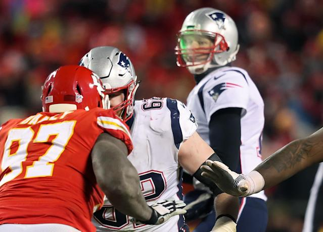 "The man who shined a laser at <a class=""link rapid-noclick-resp"" href=""/nfl/players/5228/"" data-ylk=""slk:Tom Brady"">Tom Brady</a> during the AFC Championship game in January was fined $500 this week. (Jim Davis/The Boston Globe via Getty Images)"
