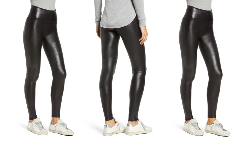 Spanx Faux Leather Leggings are supportive, streamlined and seamless. (Photo: Nordstrom)