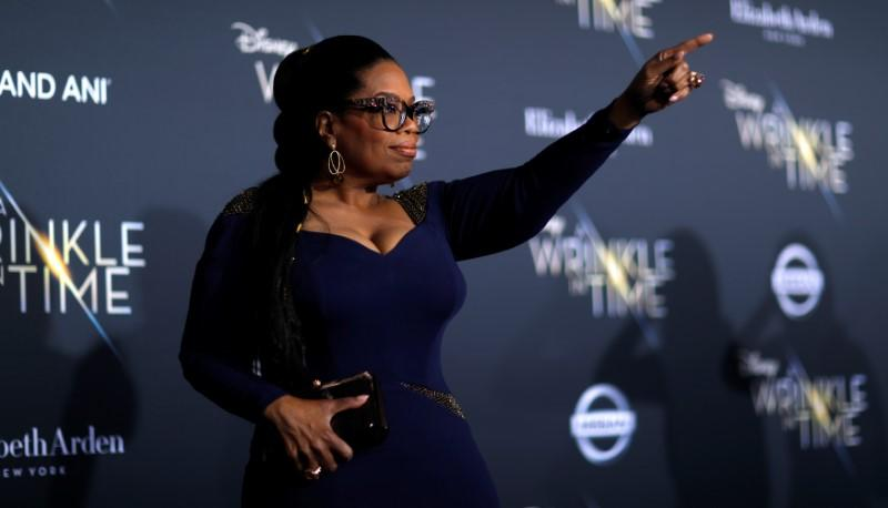 "Cast member Winfrey poses at the premiere of ""A Wrinkle in Time"" in Los Angeles"