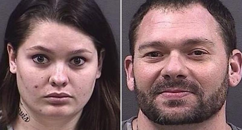 A split photo shows the mugshots of Samantha Kershner and Travis Fieldgrove after getting married in Nebraska. Source: Hall County Jail