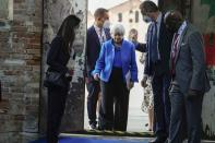 United States Secretary of the Treasury Janet Yellen arrives to attend a press conference at a G20 Economy and Finance ministers and Central bank governors' meeting in Venice, Italy, Sunday, July 11, 2021. (AP Photo/Luca Bruno)