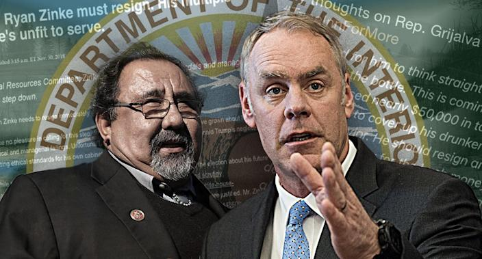 Raul Grijalva, Ryan Zinke (Photo illustration: Yahoo News; photos: Chip Somodevilla/Getty Images, AP, Secretary Ryan Zinke via Twitter, USA Today, Louise Johns for the Washington Post via Getty Images)