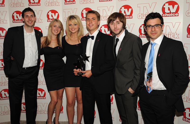 The cast of the Inbetweeners (left to right, Blake Harrison, Emily Head, Emily Atack, Joe Thomas, James Buckley and Simon Bird) with the Best Comedy Show award at the Dorchester Hotel, Park Lane, London