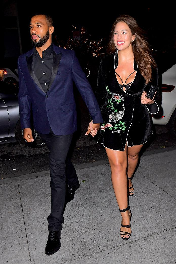 0081aed972b Ashley Graham Shows Major Skin in a Low-Cut Wrap Dress on Date Night