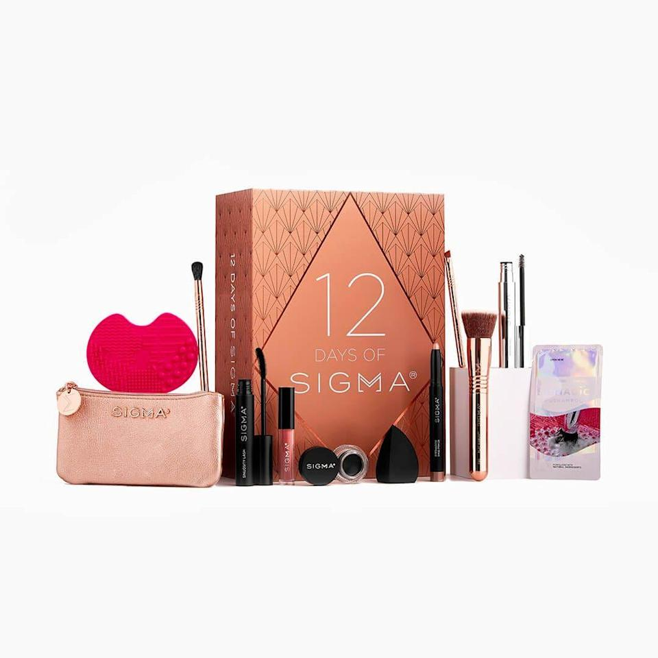 """<p>sigmabeauty.com</p><p><strong>$90.00</strong></p><p><a href=""""https://go.redirectingat.com?id=74968X1596630&url=https%3A%2F%2Fwww.sigmabeauty.com%2F12-days-of-sigma.html&sref=https%3A%2F%2Fwww.townandcountrymag.com%2Fstyle%2Fbeauty-products%2Fnews%2Fg2919%2Fbeauty-advent-calendars%2F"""" rel=""""nofollow noopener"""" target=""""_blank"""" data-ylk=""""slk:Shop Now"""" class=""""link rapid-noclick-resp"""">Shop Now</a></p><p><strong>Best For: </strong>The brush hoarder.</p><p><strong>What's Inside:</strong> 12 beauty tools and products to help them glam up the season, including soft makeup brushes, a makeup bag, brush shampoo and a cleansing mat, plus makeup must-haves.</p>"""