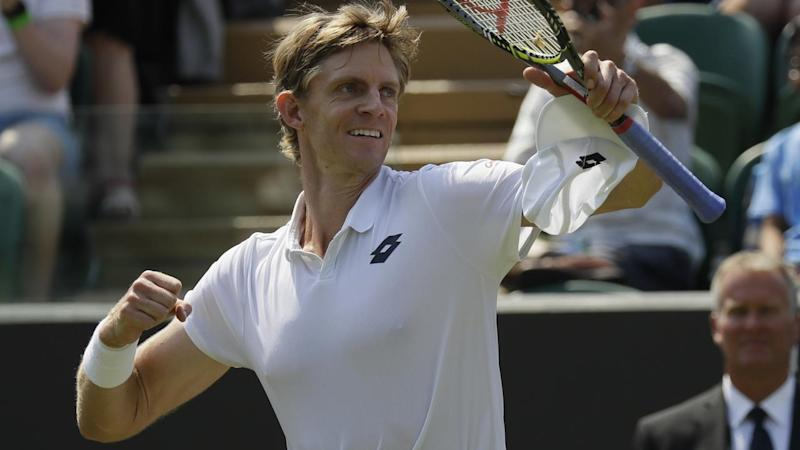 South Africa's Kevin Anderson has joined Frenchmen Gael Monfils in the Wimbledon's last 16