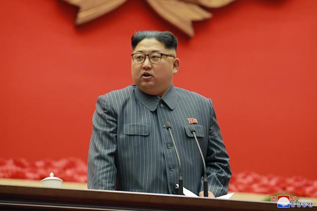 "<p>In this Dec. 23, 2017, photo distributed on Dec. 24, 2017, by the North Korean government, North Korean leader Kim Jong Un speaks during the conference of cell chairpersons of the ruling party in Pyongyang. North Korea on Sunday, Dec. 24, called the latest U.N. sanctions to target the country ""an act of war"" that violates its sovereignty, and said it is a ""pipe dream"" for the United States to think it will give up its nuclear weapons. Independent journalists were not given access to cover the event depicted in this image distributed by the North Korean government. The content of this image is as provided and cannot be independently verified. Korean language watermark on image as provided by source reads: ""KCNA"" which is the abbreviation for Korean Central News Agency. (Korean Central News Agency/Korea News Service via AP) </p>"