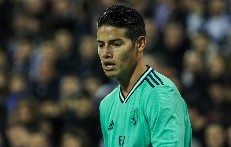 ZARAGOZA, SPAIN - JANUARY 29: James Rodriguez of Real Madrid looks on during the Spanish Cup, Copa del Rey, football match played between Real Zaragoza and Real Madrid at La Romareda stadium on January 29, 2020 in Zaragoza, Spain. (Photo by Oscar J. Barroso / AFP7 / Europa Press Sports via Getty Images)