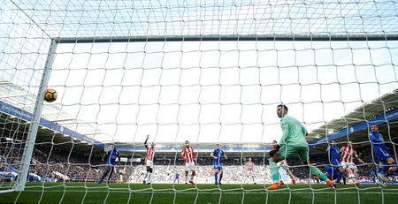 Soccer Football - Premier League - Leicester City vs Stoke City - King Power Stadium, Leicester, Britain - February 24, 2018 Stoke City's Jack Butland looks on as the ball hits the post from a header Action Images via Reuters/Andrew Boyers